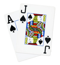 Blackjack Cards Isolated On Wh...