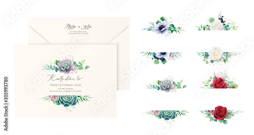 Set of beautiful floral labels and badges for wedding envelope address, banners or backdrop Canvas Print