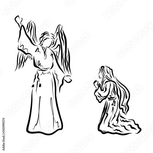 Fotografie, Obraz Angel announces Virgin Mary the message of the Savior
