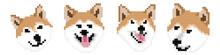 Set Vector Pixel Art Shiba Inu...