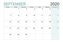2020 September Illustration Vector Desk Calendar