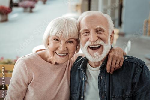 Stampa su Tela Joyful nice couple being in a great mood