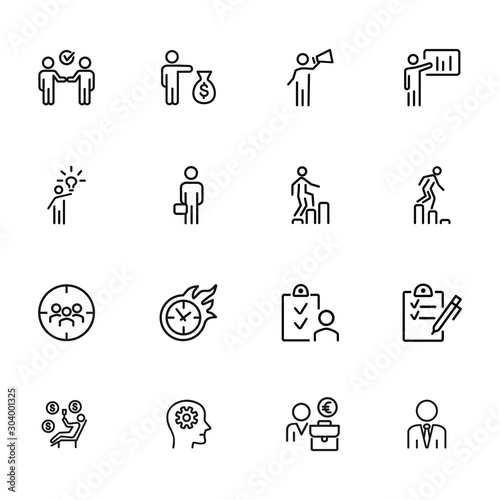 Fototapeta Businessman line icon set. Manager, investor, leader. Business concept. Can be used for topics like startup, management, leadership, project obraz