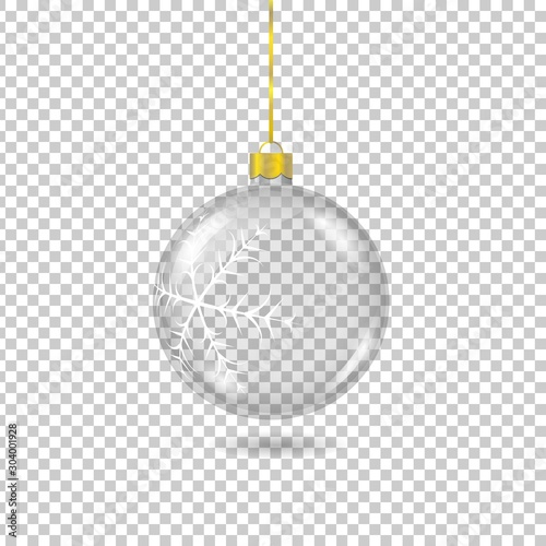 Obraz Vector transparent christmas tree ball with with gold eyelet isolated on checkered background. 3D illustration. - fototapety do salonu