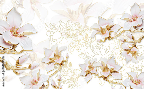 Fototapety 3d   3d-illustration-light-background-with-the-contours-of-peonies-large-gilded-pink-magnolia-flowers