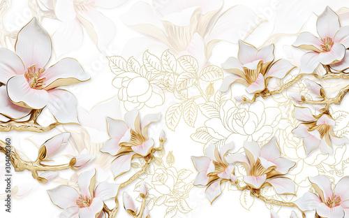 Fototapety 3d   ilustracja-3d-jasne-tlo-z-konturami-piwonii-duze-pozlacane-rozowe-kwiaty-magnolii