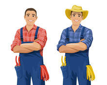 Cartoon Farmer Wearing Checkered Shirt, Overall And Hat Stands With Arm Crossed. Smiling Gardener With Work Gloves And Hand Pruners In His Pocket. Vector Illustration Isolated On The White Background.