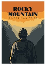 Rocky Mountain National Park Poster Design In Retro Of Vintage Style