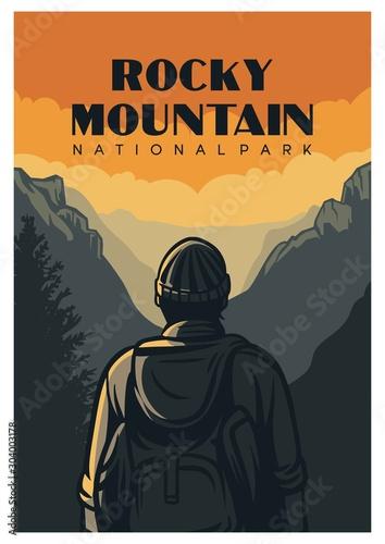 Obraz rocky mountain national park poster design in retro of vintage style - fototapety do salonu
