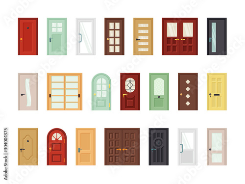 Detailed front doors flat vector icons set Canvas Print