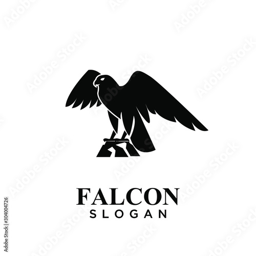Photo falcon black logo icon design vector illustration