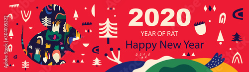Obraz Happy New Year 2020 vector logo design. Happy new year with cute mouse rat in folk style. Chinese New Year. Cover of design for 2020. Calendar design, brochure, catalog, card, banner, wallpaper.  - fototapety do salonu