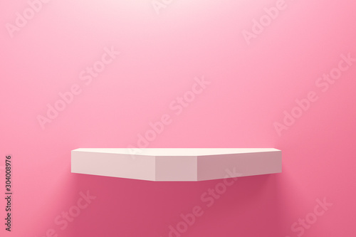 Fotomural  Front view of empty shelf on pink wall background with modern minimal concept