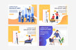 Project managers set. Businesspeople analyzing charts, talking on cells. Flat vector illustrations. Business or consulting concept for banner, website design or landing web page