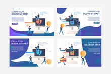 Collection Of Flat Vector Illustrations With Cybercriminals. Hacker, Attack, Threat. Cybercrime Concept For Banner, Website Design Or Landing Web Page