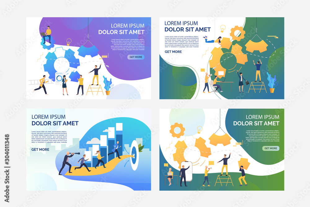 Fototapeta Set of business people building mechanism. Flat vector illustrations. Development, optimization, teamwork. Business technology and cooperation concept for banner, website design or landing web page