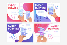 Set Of Illustrations Of Person Receiving Nasty Messages Via Net. Abuse, Victim. Flat Vector. Cyber Bulling Concept For Banner, Website Design Or Landing Web Page