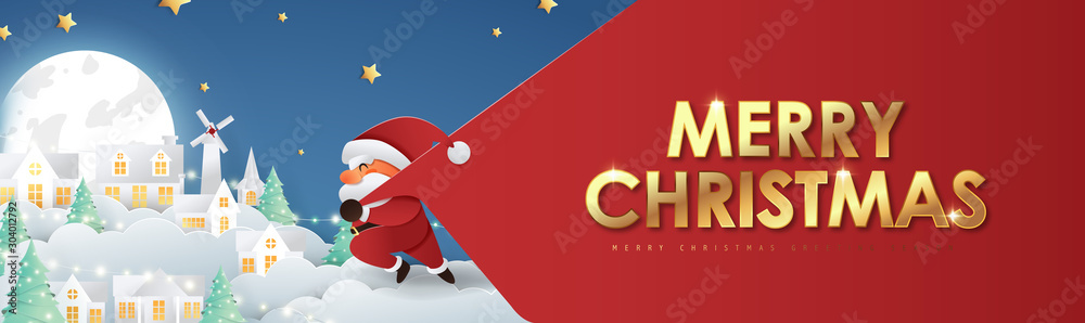 Fototapety, obrazy: Merry christmas composition in paper cut style.Santa Claus with a huge bag on the run to delivery christmas gifts. Vector illustration.