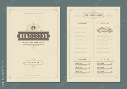 Obraz Restaurant menu design and label vector brochure template. - fototapety do salonu