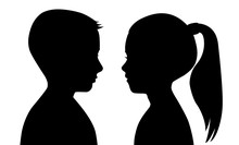 Black Silhouette Of A Boy And A Girl On A White Background. The Faces Are Facing Each Other.  Vector Illustration Of A Contour Of The Head. Male And Female Profiles. Children, Teens.
