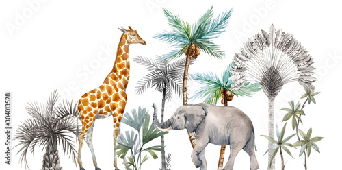 Photo  Watercolor safari animals with tropical palms composition