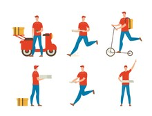 Pizza Delivery Guy Flat Vector...