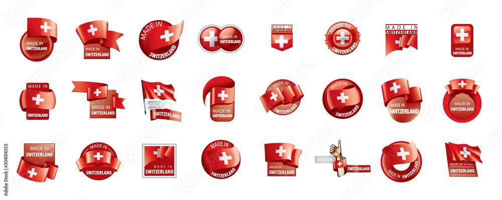 Fototapeta Switzerland flag, vector illustration on a white background
