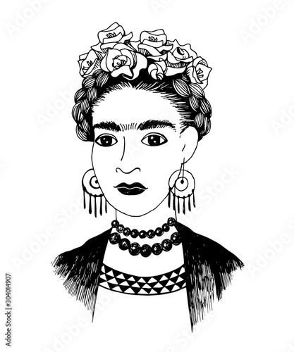 Hand sketched Frida Kahlo portrait Wall mural