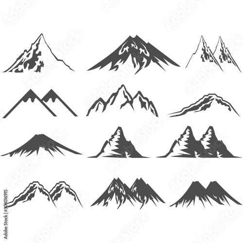 Photo mountain icon logo vector design symbol