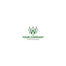 WW Wood Tree Logo Design Vector