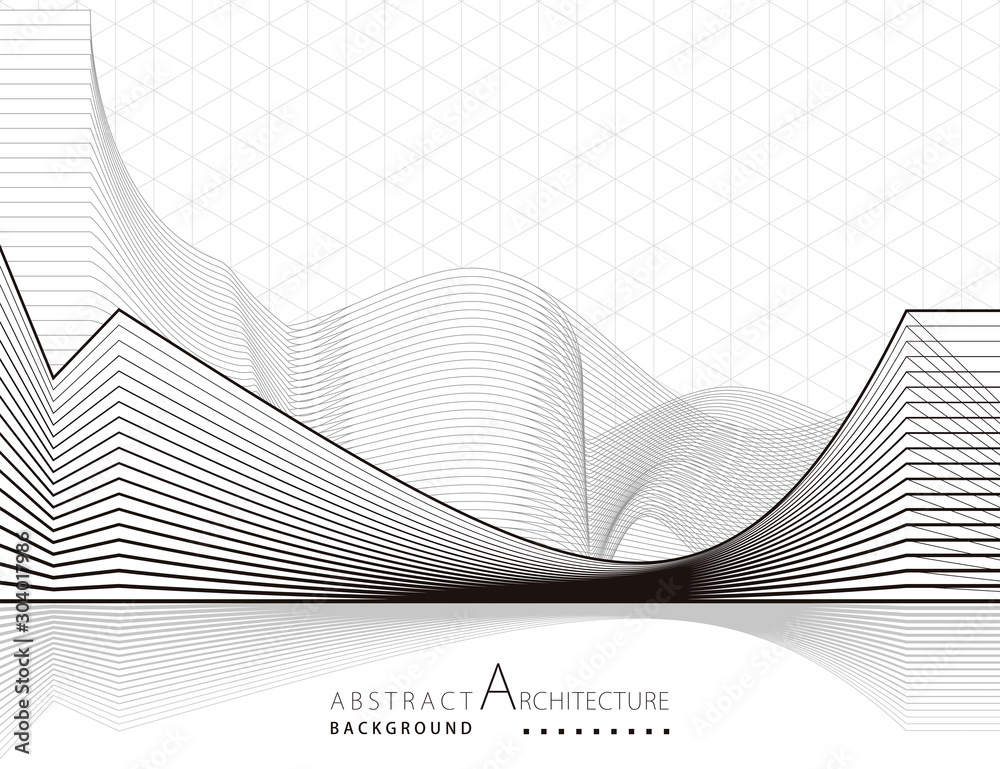 3D illustration architecture building construction perspective design abstract background. <span>plik: #304017986 | autor: yewkeo</span>