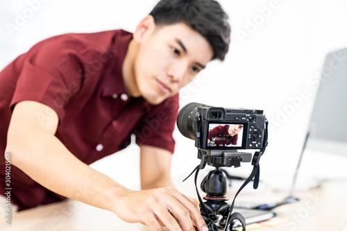 Fotomural  Vlogger blogger set up live camera