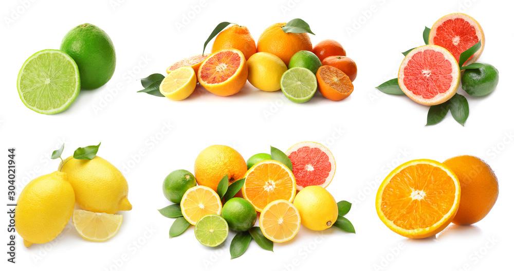 Fototapety, obrazy: Different tasty citrus fruits on white background