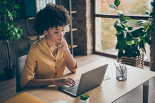 Photo Of Confident Interested Thinking Mixed-race Woman Guessing How To Fix Issues In Yellow Shirt Reports To Send Them To Entrepreneur For Being Checked Out