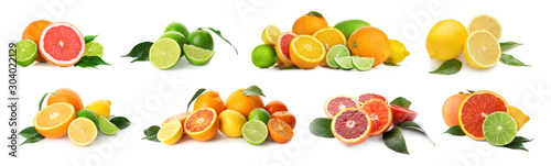 Fényképezés Different tasty citrus fruits on white background