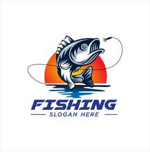 Fishing Logo Design Template. Fishing Logo Bass Fish With Club Emblem Fishing . Sportfishing Logo .  Fisherman Logo