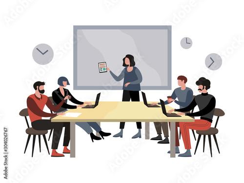 Fényképezés Briefing meeting in company raster illustration. Flat style