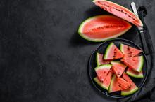 Slices Of Ripe Watermelon In A...