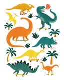 Fototapeta Dinusie - Set of dinosaurs including T-rex, Brontosaurus, Triceratops, Velociraptor, Pteranodon, Allosaurus, etc.