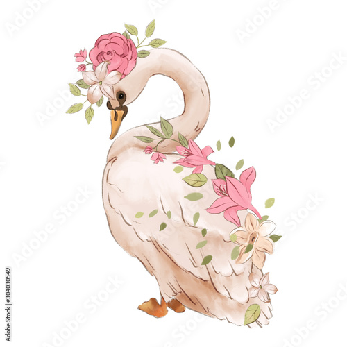 Fototapeta Beautiful hand drawn watercolor dreaming swan with rose flowers, floral bouquet