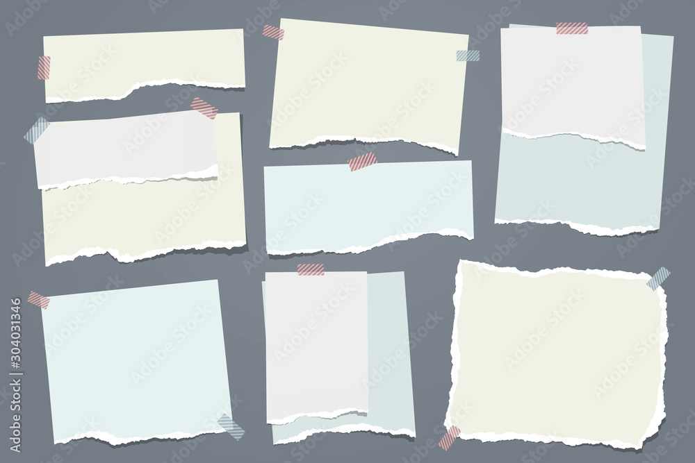 Fototapeta Torn white and colorful note, notebook paper strips and pieces stuck with sticky tape on dark grey background. Vector illustration