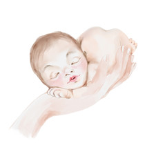 Cute Watercolor Newborn Baby Girl Or Boy Dreaming On Mothers Hand