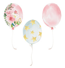 Cute Balloons Set - Pink, Pink With Flowers And Blue With Stars