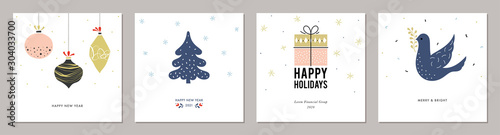 Merry Christmas greeting cards. Trendy square Winter Holidays art templates.  - 304033700