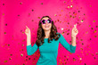 canvas print picture - Photo of cheerful positive curly wavy nice pretty cute charming millennial wearing spectacles star shaped smiling toothily isolated vibrant color fuchsia background