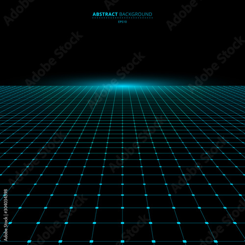 Obraz Abstract technology futuristic concept blue grid perspective on black background and lighting with space for your text - fototapety do salonu