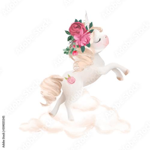 Fototapeta Cute unicorn, magic pony with flowers, floral wreath on cloud