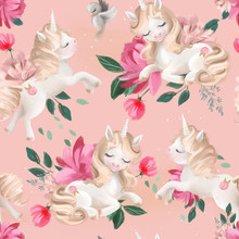 Cute Unicorn Seamless, Tileable Pattern On Pink Background