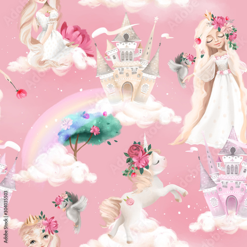 Fotografie, Tablou Cute girl, princess seamless, tileable pattern - princesses, unicorns, magic cas