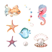 Cute Underwater Design Elements - Fishe, Starfish, Seahorse And Pearl Watercolor Illustrations